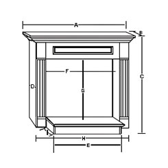 WSH24 Corner Mantle Dimensions